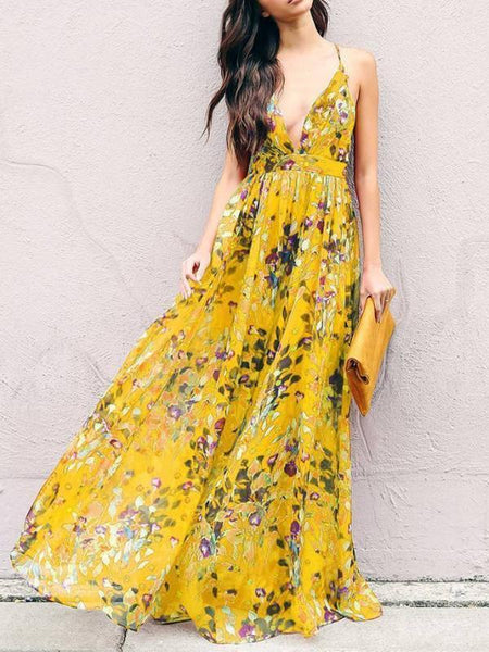 Boho Maxi Dress|Bohemia Floral V Neck Backless Maxi Dress-ShopForSelection