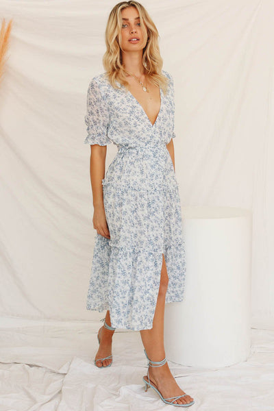 V-neck Floral Chiffon Midi Dress