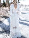 Boho Long Dress|Bohemia Hollow V-neck V-back Maxi Dress-Shopforselection