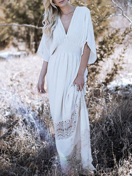 Boho Maxi Dress|Bohemia Hollow V-neck V-back Maxi Dress-Shopforselection