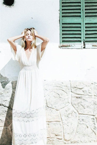 Boho White Dress|Bohemia Hollow V-neck Maxi Dress-Shopforselection