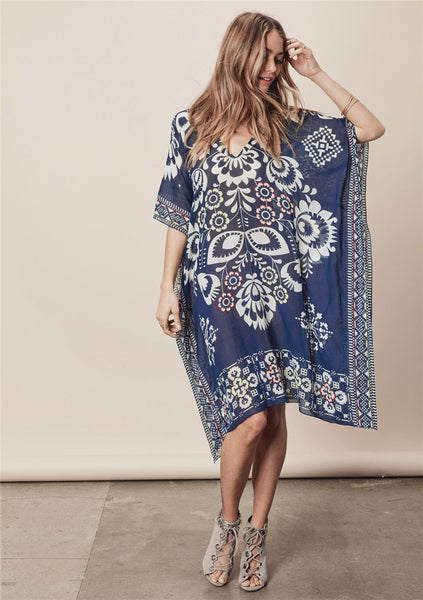Tibetan blue printed chiffon v-neck beach Cover-ups