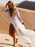 Beach Cover Ups Deep V-Neck Split-side White Cover-ups