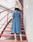 Holiday Vintage Embroidery White Blue Midi Dresses