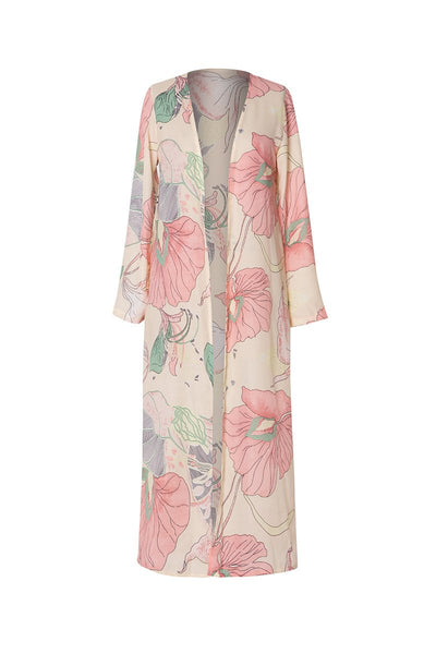 Floral Long Sleeve Casual Chiffon Printed Plus Size Kimonos
