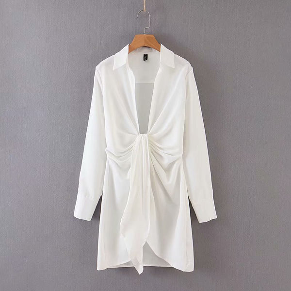 White Knotted Shirt Dress