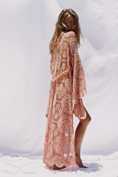 Bohemian holiday lace cardigan long Cover Ups cover-up