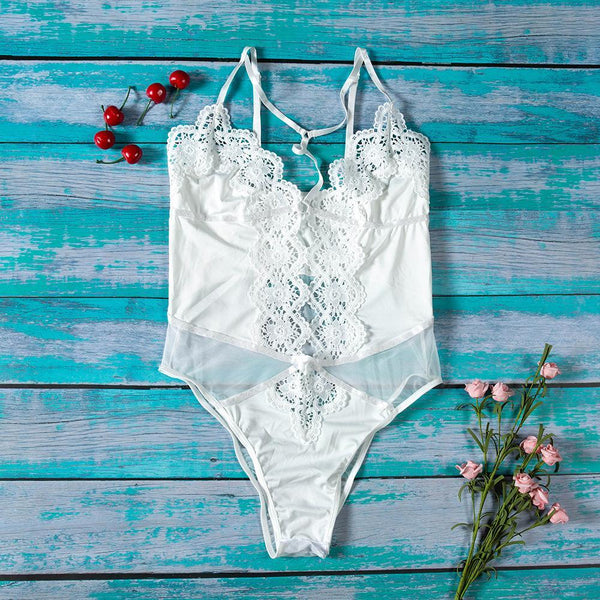 Sexy fashion heavy craft lace embroidery stitching bodysuit