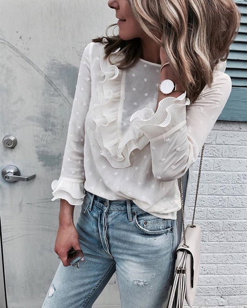 White Polka Dot Lace Shirt