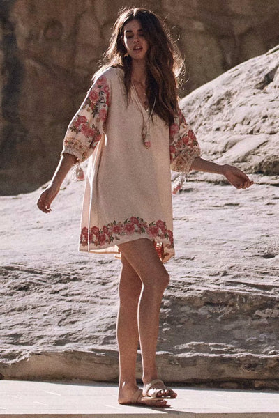 Bohemian embroidered fringed long sleeve Maxi dress