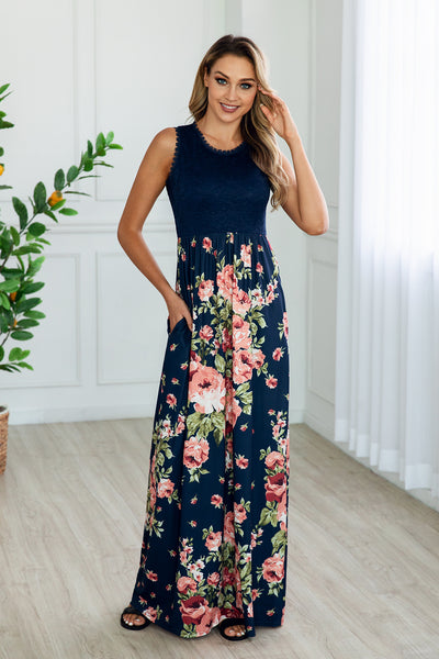Micro Fiber Sexy Lace Pocket Maxi Dress-2color