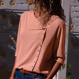 Fashion Irregular Loose Long Sleeve Button Down Blouses
