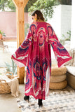 Long Printed Cotton Cardigan Cover Long Sleeve Split Cover Ups