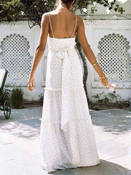 Pretty Polka-dot Bohemia Backless Floral V Neck Maxi Dresses