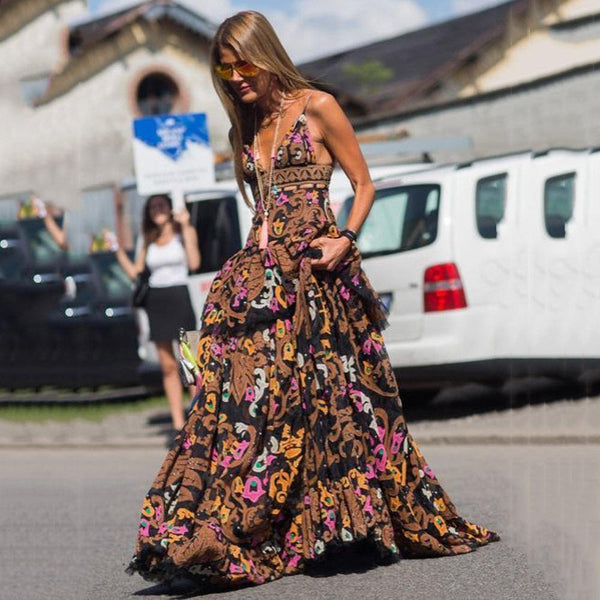 Fashion Spaghetti Backless Floral Maxi Dresses