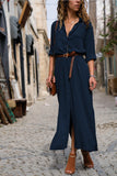 Fashionable loose long-sleeved shirt Maxi Dress