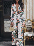 Floral Autumn Deep V-Neck Print Jumpsuit