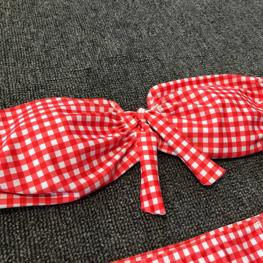 63a86ab729 Red Check Front Tie Bow High Waist Bikini Set – Stylnbo