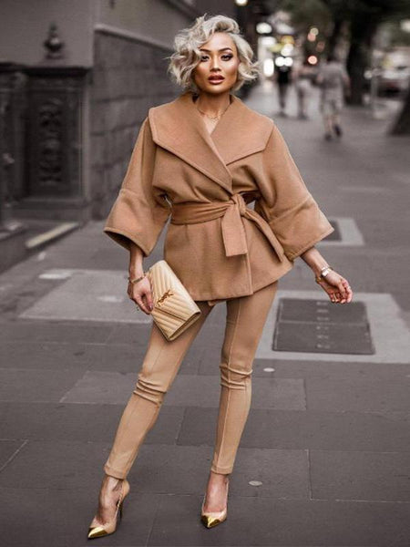 Camel Short Woollen Outwear Coats