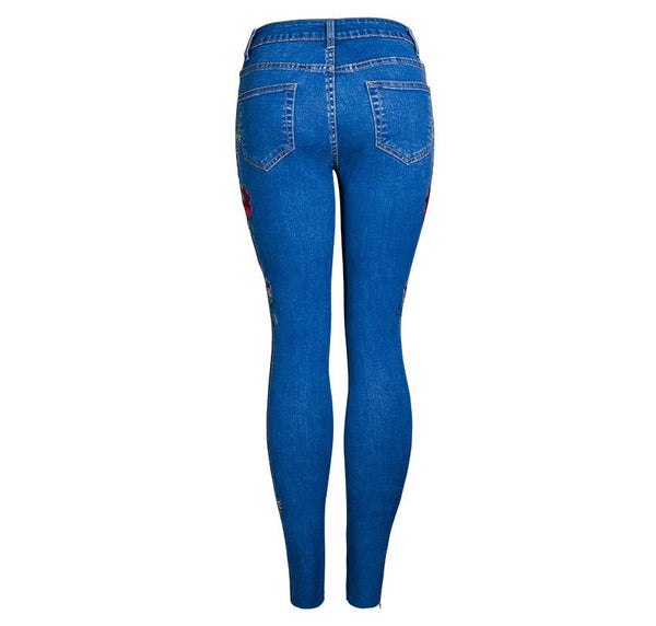 3D Heavy Work Embroidered Denim Pencil Jeans