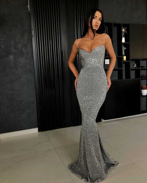 Sexy Sequins Spaghetti Strap Evening Dress