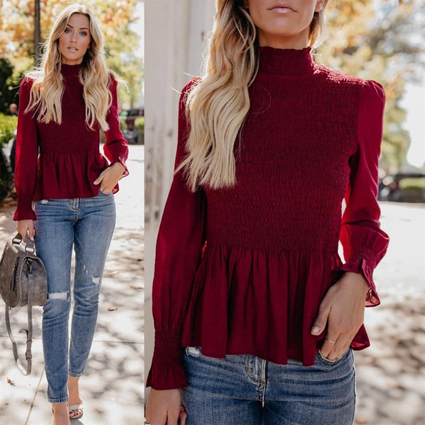 High Collar Trumpet Sleeve Blouse-5color