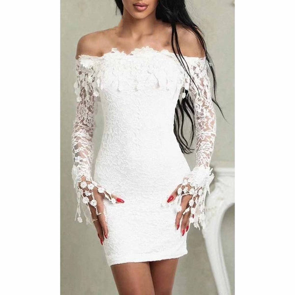 Sexy Off Shoulder Lace Long Sleeves Party Dress