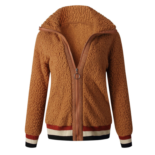 Fashion Zip Pocket Stitching Teddy Coats-3color