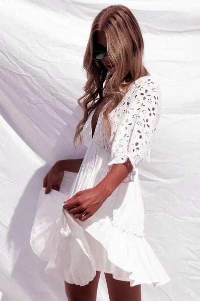 Sexy White Lace Short Beach Boho Dress