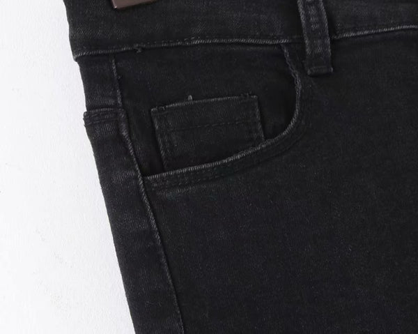 Elastic Row Buckled Washed Jeans