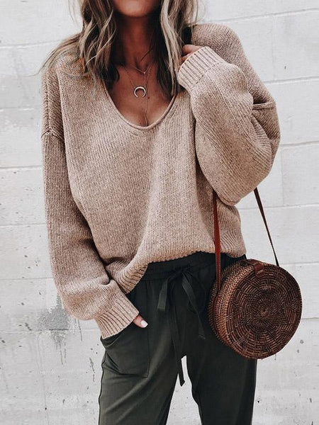 Simple Solid Color V-neck Sweaters
