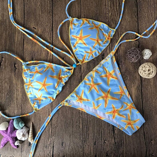 Printed High Leg Slided Two-pieces Bikinis