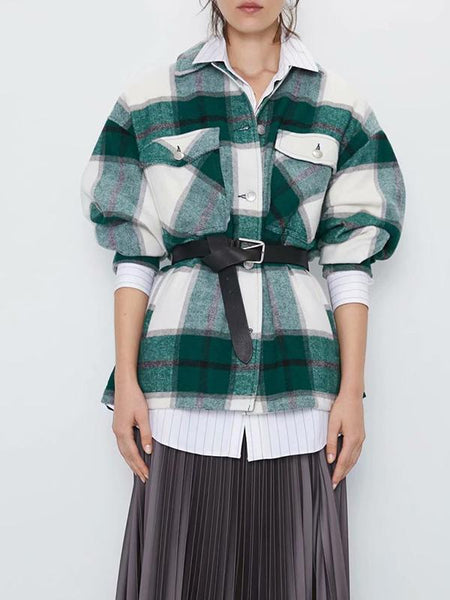 Plaid Print Cotton Boho Autumn Long Sleeve Pockets Coat