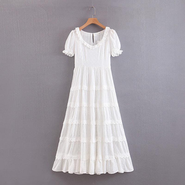 Embroidered Cotton Boho  A-Line Chic Holiday Summer Dress