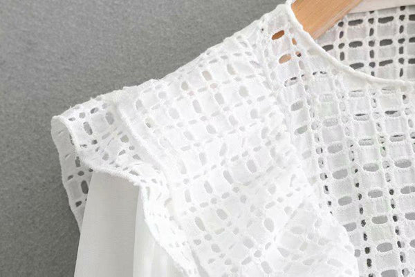 Autumn Women Embroidery Hollow Out Long Lantern Sleeves Blouses