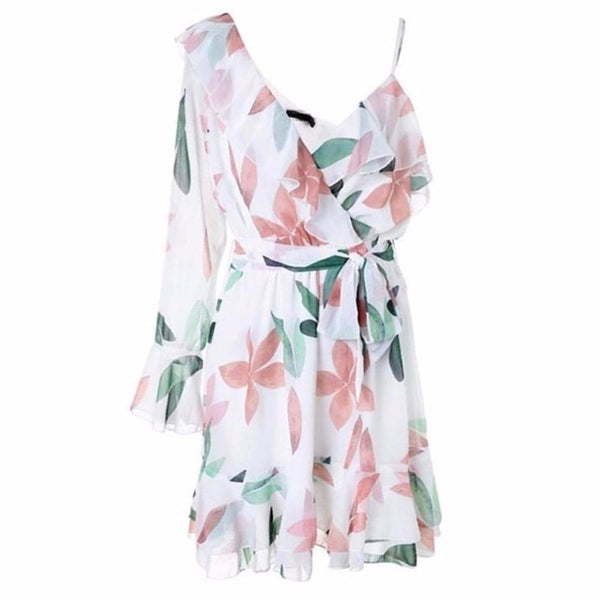 Holiday Casual Floral Print V-Neck Beach Ruffle Chiffon Dress