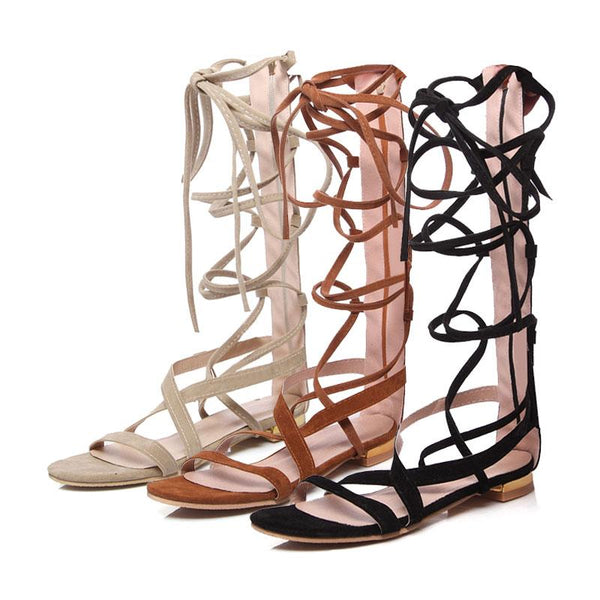 Flat Sandals Party lady Cross-tied Zipper Knee-High Beach Boho Sandals