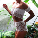 Hook Flower Hollow High Waist Bikini Word Sexy Swimsuit
