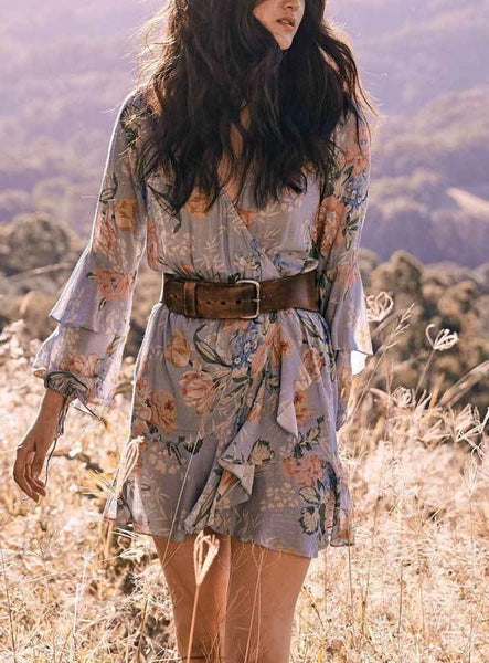 Vintage Floral Print Wrap Mini Dress V-Neck Long Sleeve BOHO Dress