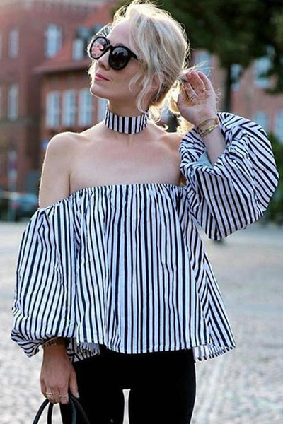 Women Striped Long Sleeve Blouses Sexy Off Shoulder Blouses