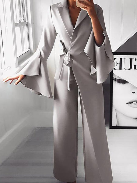 Fall High-Rise Lapel Solid Bell Sleeve Jumpsuit