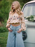Embroidered Puff-sleeves Blouses