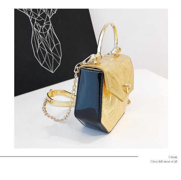Chain Shoulder Metal Hand Small Square Bag