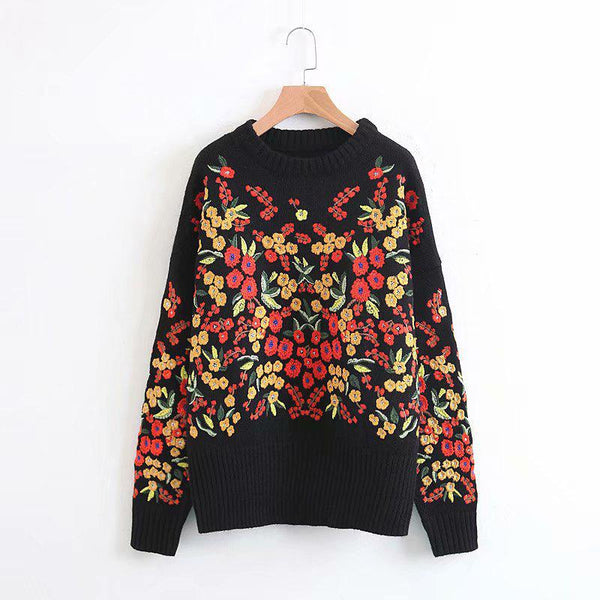 Black Pullover Long Sleeve Winter Boho Sweater