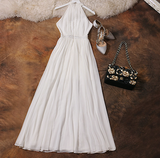 Women Maxi  Sexy Slim Waist Elegant Summer White Lace Dress
