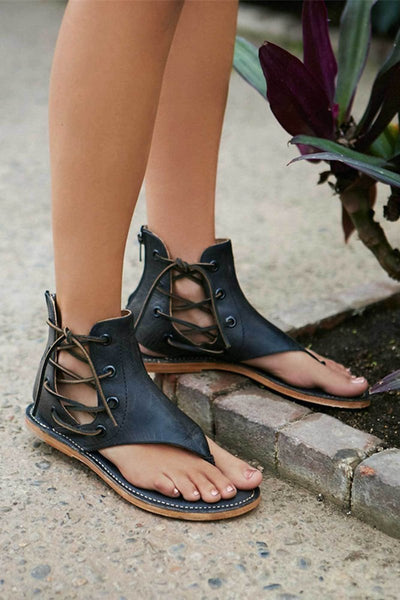 Leather Lace Up Beach Sandals