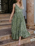 Sexy V-neck Printed Condole Belted Maxi Dress