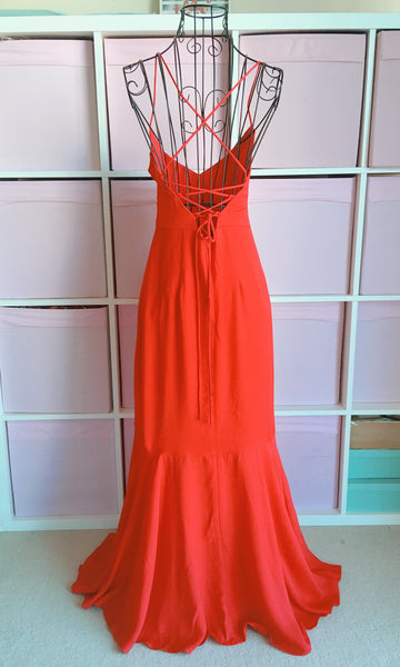 Long Red Sleeveless Backless Maxi Prom Dress