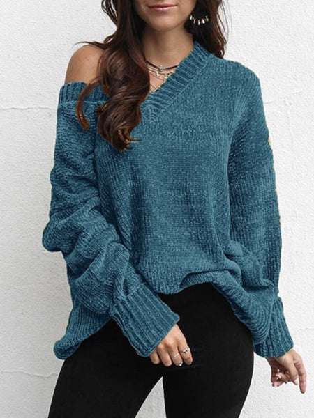 Casual Long Sleeve V Neck Sweaters