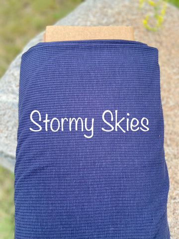 Classic Rib Knit - Stormy Skies ( darker in person - Navy)